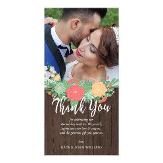 Cartão Obrigado floral & de madeira da foto do casamento