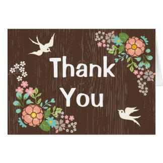 Cartão Obrigado floral de madeira de Brown você pombas do