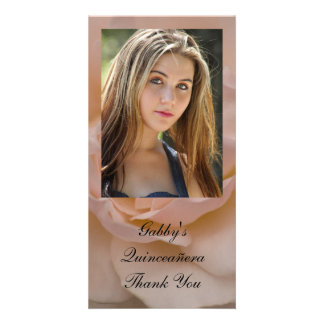 Cartão Obrigado floral de Quinceañera do rosa do rosa