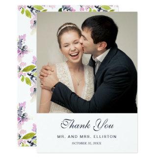 Cartão Obrigado floral delicado da aguarela | você