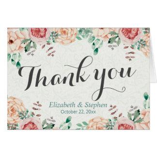 Cartão Obrigado floral do casamento da aguarela moderna