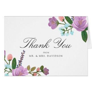 Cartão Obrigado floral do casamento de Golightly você