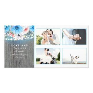 Cartão Obrigado floral do casamento de turquesa rústica