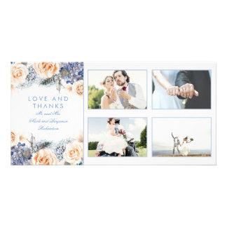 Cartão Obrigado floral do casamento do azul e do pêssego
