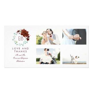 Cartão Obrigado floral do casamento do monograma de
