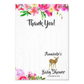 Cartão Obrigado floral do chá de fraldas da aguarela dos