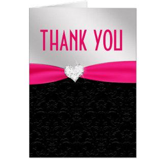 Cartão Obrigado floral do diamante do damasco do preto do