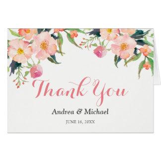Cartão Obrigado floral do jardim botânico da aguarela