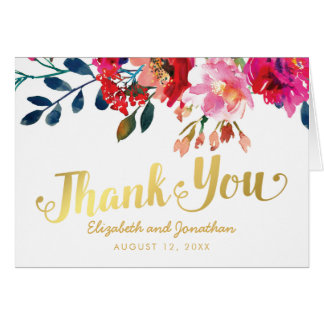 Cartão Obrigado floral elegante do ouro branco da
