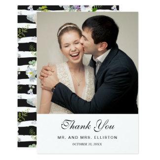 Cartão Obrigado floral pintado do teste padrão listrado  