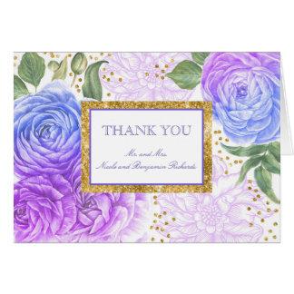 Cartão Obrigado floral roxo e azul dos confetes do ouro
