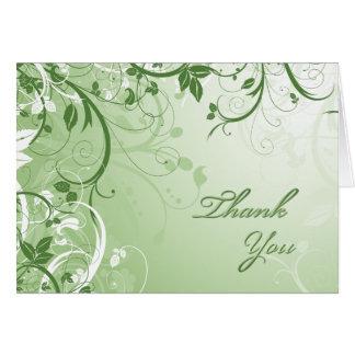 Cartão Obrigado floral verde