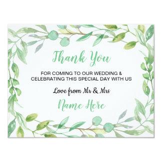 Cartão Obrigado folha das folhas do verde da natureza do