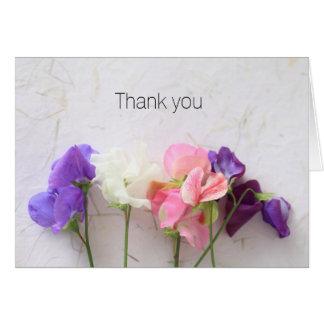 Cartão Obrigado fresco das ervilhas doces você