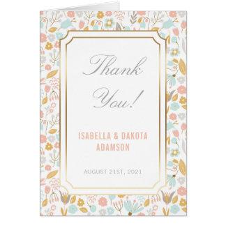 Cartão Obrigado fundo floral Pastel de | com ouro