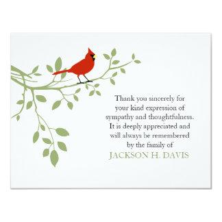 Cartão Obrigado fúnebre cardinal você pássaro do vermelho