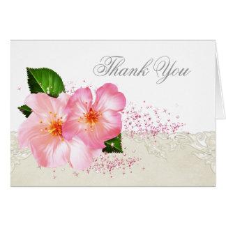 Cartão Obrigado fúnebre da flor de cerejeira elegante