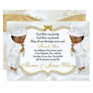 Cartão Obrigado gêmeo da cruz do ouro do baptismo dos