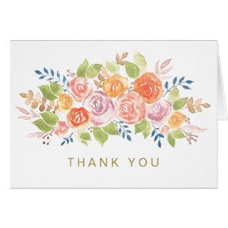 Cartão Obrigado genérico do ouro cor-de-rosa floral da