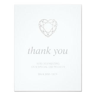 Cartão Obrigado geométrico de prata do coração você -