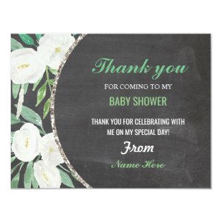 Cartão Obrigado giz floral do chá de fraldas da menina ou