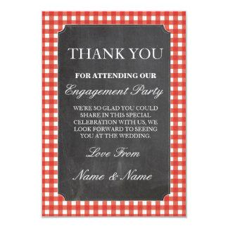 Cartão Obrigado giz vermelho do casamento da verificação