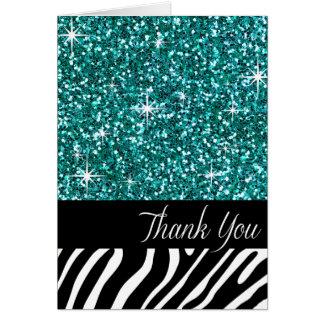 Cartão Obrigado Glam da zebra do brilho de Bling você
