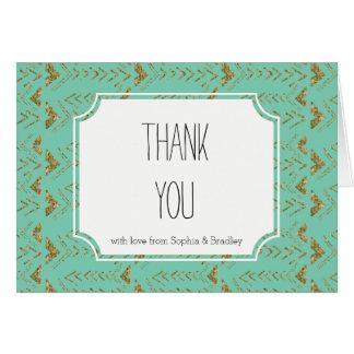Cartão Obrigado Glam das setas da hortelã e do ouro você