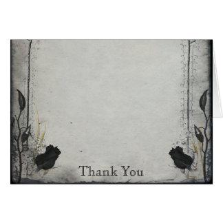 Cartão Obrigado gótico do aniversário da treliça do rosa
