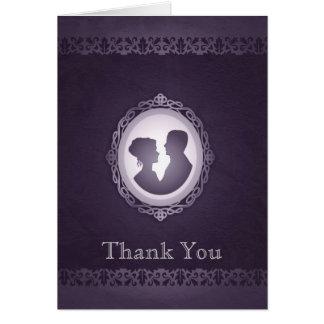 Cartão Obrigado gótico do casamento do cameo do Victorian