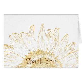 Cartão Obrigado gráfico da dama de honra do girassol você