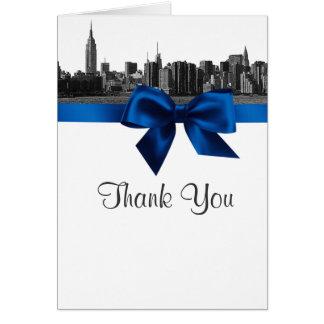 Cartão Obrigado gravado dos azuis marinhos de NYC skyline