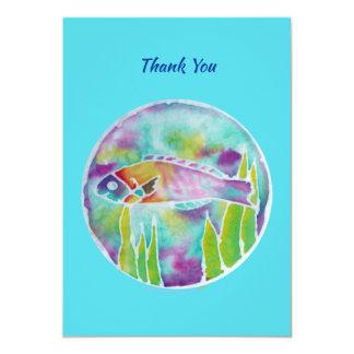 Cartão Obrigado havaiano da arte do Batik dos peixes de