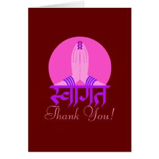 Cartão Obrigado Hindu de Dhanyavada você