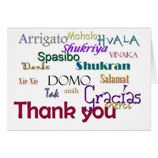 Cartão Obrigado, Hvala, Gracias, Vielen húmido, Spasibo