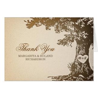 Cartão obrigado idoso do casamento do carvalho você