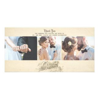 Cartão Obrigado idoso do casamento vintage do conto de