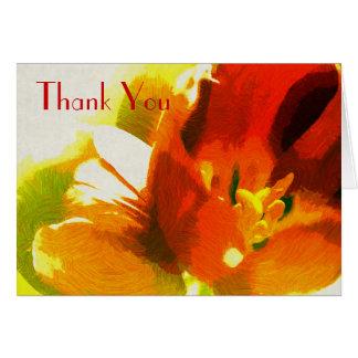Cartão Obrigado impressionista das tulipas do primavera