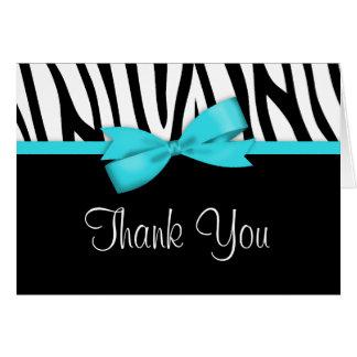 Cartão Obrigado impresso azul do arco da cerceta da zebra