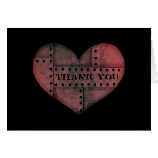 Cartão Obrigado industrial sujo do coração do punk você