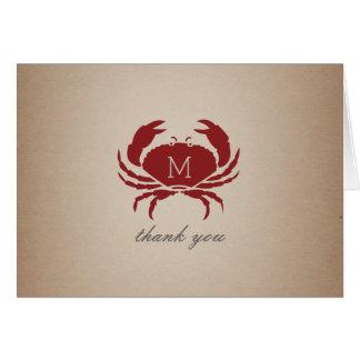 Cartão Obrigado inspirado Cardstock do monograma rústico