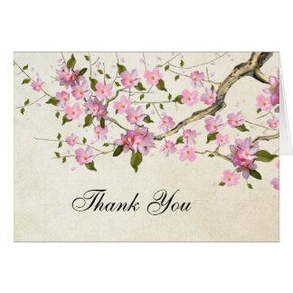 Cartão Obrigado japonês cor-de-rosa da flor de cerejeira