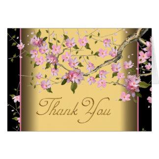 Cartão Obrigado japonês cor-de-rosa das flores de