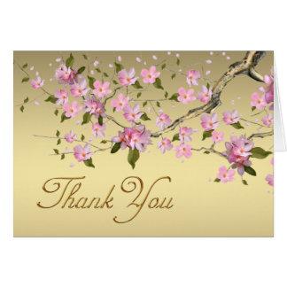 Cartão Obrigado japonês do ouro e da flor de cerejeira do