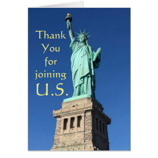 Cartão Obrigado juntando-se a E.U. Cumprimentos novos C