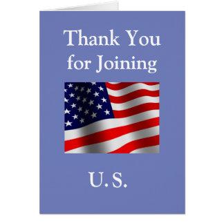 """Cartão """"Obrigado juntando-se cidadão americano novo aos"""