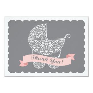 Cartão Obrigado laçado da carruagem de bebê você nota a