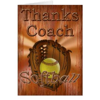 Cartão Obrigado legal do treinador do softball do Grunge