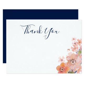 Cartão Obrigado liso floral da aguarela do pêssego e do