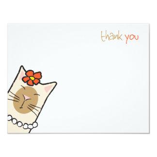 Cartão Obrigado liso Siamese do amante | do gato você